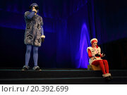 Купить «RUSSIA, MOSCOW - 18 DEC, 2014: Two artist in dress of sheep are performing on the stage at Aquamarine circus.», фото № 20392699, снято 18 декабря 2014 г. (c) Losevsky Pavel / Фотобанк Лори
