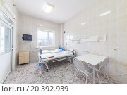 Купить «hospital ward with beds tables and tv», фото № 20392939, снято 27 июня 2014 г. (c) Losevsky Pavel / Фотобанк Лори