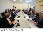 Купить «RUSSIA, MOSCOW - 18 MAY, 2015: People are sitting into meeting-room at conference USRF in MSTU of N.E. Bauman.», фото № 20393071, снято 18 мая 2015 г. (c) Losevsky Pavel / Фотобанк Лори