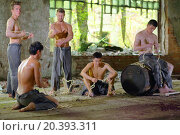 Купить «Five young guys in ragged pants with rope in his hands in abandoned building», фото № 20393311, снято 10 мая 2014 г. (c) Losevsky Pavel / Фотобанк Лори
