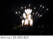 Купить «FRANCE, PARIS - SEP 10, 2014: Firework about famous castle at Disneyland.», фото № 20393423, снято 10 сентября 2014 г. (c) Losevsky Pavel / Фотобанк Лори