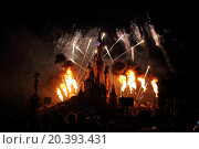 Купить «FRANCE, PARIS - SEP 10, 2014: Firework with flame about famous castle at Disneyland.», фото № 20393431, снято 10 сентября 2014 г. (c) Losevsky Pavel / Фотобанк Лори