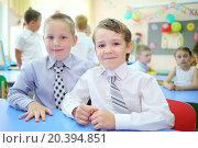 Купить «Portrait of two smiling boys in a group with six children in kindergarten», фото № 20394851, снято 28 мая 2014 г. (c) Losevsky Pavel / Фотобанк Лори