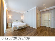 Купить «ADLER, RUSSIA - JULY 21, 2014: Interior of a hotel room with double bed», фото № 20395139, снято 21 июля 2014 г. (c) Losevsky Pavel / Фотобанк Лори
