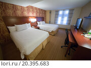 Купить «USA, NEW-YORK - 30 AUG, 2014: Light room with a two double bed and TV in Courtyard Washington Convention Center.», фото № 20395683, снято 30 августа 2014 г. (c) Losevsky Pavel / Фотобанк Лори