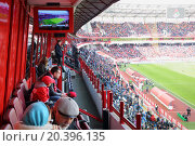 Купить «MOSCOW, RUSSIA - MAR 30, 2014: Fans watching football at the stadium Locomotive», фото № 20396135, снято 30 марта 2014 г. (c) Losevsky Pavel / Фотобанк Лори