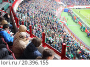 Купить «MOSCOW, RUSSIA - MAR 30, 2014: Team fans watching football at the stadium Locomotive», фото № 20396155, снято 30 марта 2014 г. (c) Losevsky Pavel / Фотобанк Лори