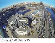 Купить «MOSCOW, RUSSIA - MAR 12, 2013: Aerial view of the cityscape with Expo Center exhibition complex at sunny day.», фото № 20397295, снято 12 марта 2013 г. (c) Losevsky Pavel / Фотобанк Лори