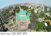 Купить «RUSSIA, MOSCOW - MAY 20, 2014: Cityscape with performance of military orchestra near of Central Academic Theatre of Russian Army at sunny spring day. Aerial view», фото № 20397351, снято 20 мая 2014 г. (c) Losevsky Pavel / Фотобанк Лори