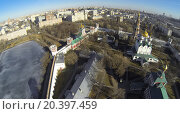 Купить «MOSCOW, RUSSIA - MAR 23, 2014: Aerial view of the area Novodevichy Convent in the spring.», фото № 20397459, снято 23 марта 2014 г. (c) Losevsky Pavel / Фотобанк Лори
