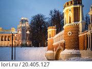 Купить «RUSSIA, MOSCOW - DEC 22, 2013: Second Cavalier Building at territory of Catherine Palace in Tsaritsyno.», фото № 20405127, снято 22 декабря 2013 г. (c) Losevsky Pavel / Фотобанк Лори
