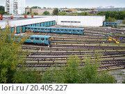 Купить «Two city underground trains leave the depot gates», фото № 20405227, снято 11 сентября 2013 г. (c) Losevsky Pavel / Фотобанк Лори