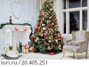 Купить «Room decorated to christmas celebration, shot was taken in public rented studio», фото № 20405251, снято 26 декабря 2013 г. (c) Losevsky Pavel / Фотобанк Лори