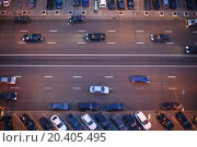Купить «Top view of wide road with markings and lots of cars at night.», фото № 20405495, снято 12 мая 2013 г. (c) Losevsky Pavel / Фотобанк Лори