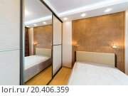 Купить «Modern bedroom with closet and large mirror», фото № 20406359, снято 14 января 2014 г. (c) Losevsky Pavel / Фотобанк Лори