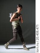 Купить «Handsome young man in a costume with a mace», фото № 20408471, снято 14 апреля 2014 г. (c) Losevsky Pavel / Фотобанк Лори