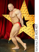 Bodybuilder shows his strength and muscles on stage with big lights star. Стоковое фото, фотограф Losevsky Pavel / Фотобанк Лори