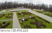 Rosarium in the botanical garden with seedlings and footpath , view from unmanned quadrocopter. (2013 год). Редакционное фото, фотограф Losevsky Pavel / Фотобанк Лори