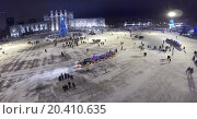 Купить «RUSSIA, SAMARA - JAN 6, 2014: View from unmanned quadrocopter to Kuibyshev Square with christmas tree in the evening. Is largest square in Europe.», фото № 20410635, снято 6 января 2014 г. (c) Losevsky Pavel / Фотобанк Лори