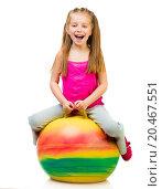 Купить «young girl doing gymnastics with ball over white background», фото № 20467551, снято 20 апреля 2013 г. (c) easy Fotostock / Фотобанк Лори