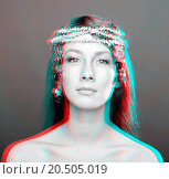 Купить «Beautiful woman portrait. anaglyph 3D (To see the image you will need cyan/red glasses)», иллюстрация № 20505019 (c) easy Fotostock / Фотобанк Лори
