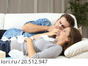 Купить «Ill couple sneezing in tissue flu concept», фото № 20512947, снято 2 июня 2019 г. (c) PantherMedia / Фотобанк Лори