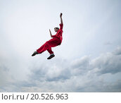Купить «Shaolin warriors wushoo man in red practice martial art outdoor. Kung fu», фото № 20526963, снято 10 августа 2011 г. (c) easy Fotostock / Фотобанк Лори