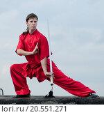 Купить «Shaolin warriors wushoo man in red with sword practice martial art outdoor. Kung fu», фото № 20551271, снято 10 августа 2011 г. (c) easy Fotostock / Фотобанк Лори
