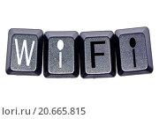 """Купить «Слово """" Wi-Fi """" на клавишах клавиатуры изолировано», иллюстрация № 20665815 (c) Сергеев Валерий / Фотобанк Лори"""