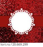 Купить «Рамка в виде снежинки на красном блестящем фоне», иллюстрация № 20669299 (c) Владимир / Фотобанк Лори