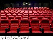 Купить «movie theater empty auditorium with seats», фото № 20716643, снято 16 января 2015 г. (c) Syda Productions / Фотобанк Лори