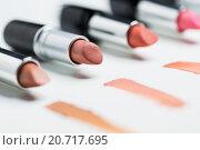 Купить «close up of lipsticks range», фото № 20717695, снято 19 ноября 2015 г. (c) Syda Productions / Фотобанк Лори