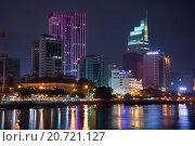 Купить «Современный Хошимин ночью. Вьетнам», фото № 20721127, снято 20 декабря 2015 г. (c) Виктор Карасев / Фотобанк Лори