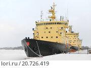 Купить «Ледоколы в порту. Хельсинки, Финляндия», фото № 20726419, снято 9 января 2016 г. (c) Валерия Попова / Фотобанк Лори