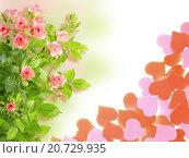Купить «Рамка с розами и сердечками», фото № 20729935, снято 13 декабря 2019 г. (c) Boroda / Фотобанк Лори
