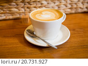 Купить «close up of coffee cup with heart shape drawing», фото № 20731927, снято 1 декабря 2015 г. (c) Syda Productions / Фотобанк Лори