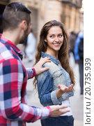 Купить «Man stops woman on a street», фото № 20735939, снято 27 февраля 2020 г. (c) Яков Филимонов / Фотобанк Лори