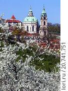 View from Petrin hill blooming on the church of St. Nicholas, Prague, Czech Republic. Стоковое фото, фотограф Radim Beznoska / age Fotostock / Фотобанк Лори
