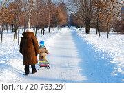 Купить «Бабушка с внуком в зимнем парке», эксклюзивное фото № 20763291, снято 17 января 2010 г. (c) Юрий Морозов / Фотобанк Лори