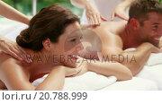 Купить «Couple receiving a back massage», видеоролик № 20788999, снято 18 июля 2019 г. (c) Wavebreak Media / Фотобанк Лори