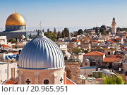 Купить «Jerusalem panoramic to roof view of sacred places christians, jewish and muslims», фото № 20965951, снято 5 декабря 2015 г. (c) Наталья Волкова / Фотобанк Лори
