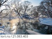 Купить «Река Торгоша в Московской области в январе», фото № 21083403, снято 24 января 2016 г. (c) Валерий Боярский / Фотобанк Лори