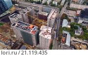 Строительство жилого района в Москве. Съемка с квадрокоптера (2015 год). Стоковое видео, видеограф Сергей Полетаев / Фотобанк Лори