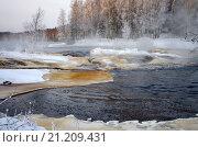 """Купить «Порог """"Большой Толли"""" на реке Шуе в январе, Карелия», фото № 21209431, снято 5 января 2016 г. (c) Natalya Sidorova / Фотобанк Лори"""