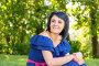 Счастливая девушка в синем платье в парке, фото № 21234947, снято 26 июля 2015 г. (c) Константин Лабунский / Фотобанк Лори