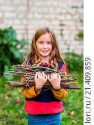 Купить «9-year-old girl collecting firewood.», фото № 21409859, снято 14 октября 2015 г. (c) age Fotostock / Фотобанк Лори