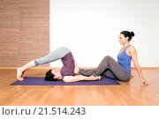 Купить «An image of some people doing yoga exercises», фото № 21514243, снято 5 августа 2013 г. (c) easy Fotostock / Фотобанк Лори