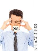 Купить «businessman with headache and cry expression on sticker», фото № 21516535, снято 15 мая 2014 г. (c) easy Fotostock / Фотобанк Лори