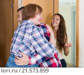 Adults children greeting mother. Стоковое фото, фотограф Яков Филимонов / Фотобанк Лори