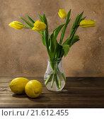Натюрморт. Желтые тюльпаны и лимоны. Стоковое фото, фотограф Наталья Елькина / Фотобанк Лори